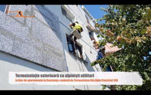 termoizolatie exterioara cu alpinisti utilitari la bloc de apartamente in Constanta