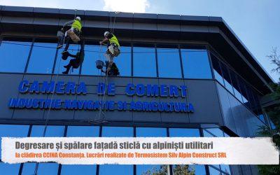 Degresare, spălare fațadă de sticlă și recondiționare firmă luminoasă la CCINA Constanța
